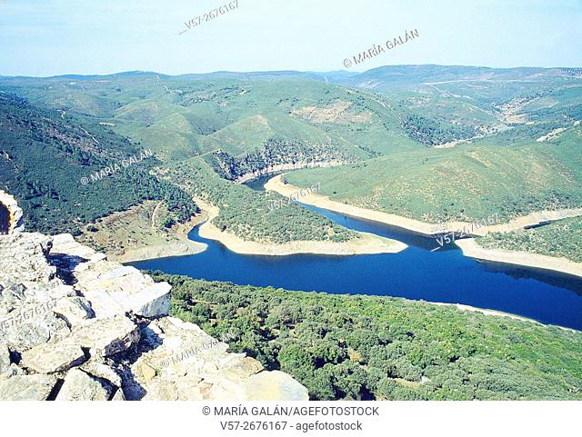 River Tajo viewed from the Monfragüe castle. Monfragüe National Park, Caceres province, Extremadura, Spain