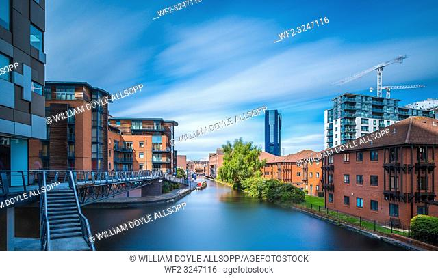 The Birmingham Canal Old Main Line with Salvage Turn Bridge and The Cube on the left