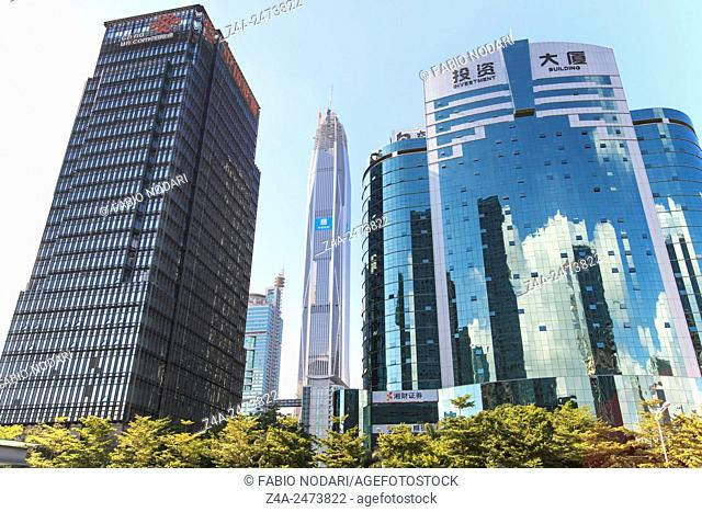 Shenzhen, China - August 19,2015: Shenzhen skyline as seen from the Stock Exchange building with the Ping An IFC, the tallest building of the city