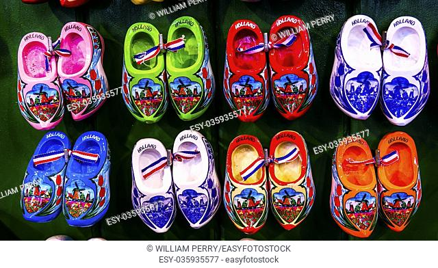 Colroful Pink Blue Green Red Orange Dutch Shoe Souvenirs Outdoor Flower Market Singel Canal Amsterdam Holland Netherlands