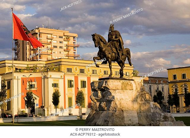 Statue of 15th-century Albanian hero Gjergj Skanderbeg in Skanderbeg Square, Tirana, Albania, Eastern Europe