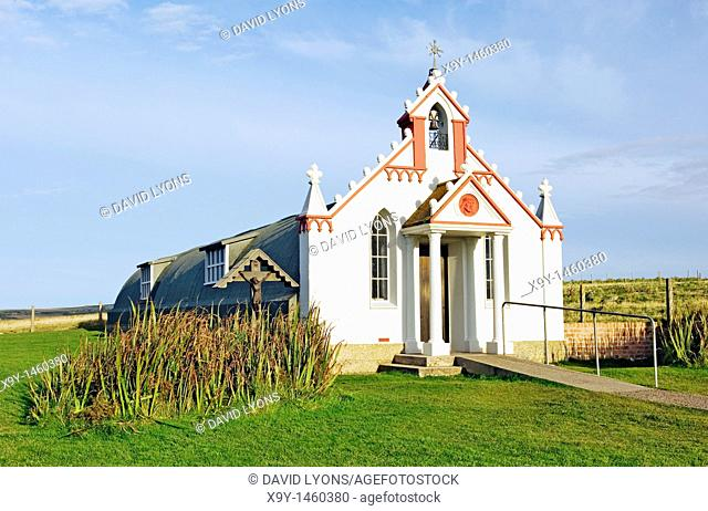 The Italian Chapel, Orkney, Scotland  Built from 2 Nissan huts by WW2 Italian prisoners working on the Churchill Barrier