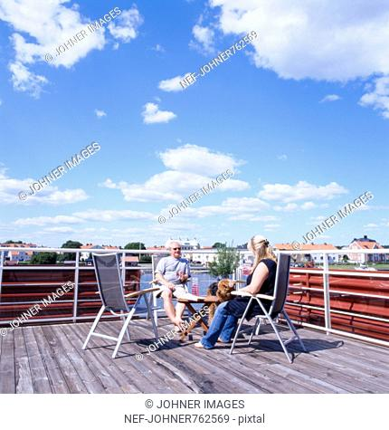 A couple at a terrace