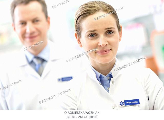 Portrait of confident pharmacists