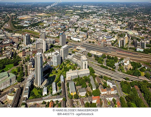 Aerial view of skyline with RWE skyscraper, Evonik headquarters, central station, DB-Tower, Essen Mitte, Ruhr District, North Rhine-Westphalia, Germany
