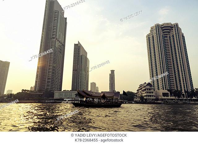 Ferry boat on Chao Phraya river, Bangkok, Thailand