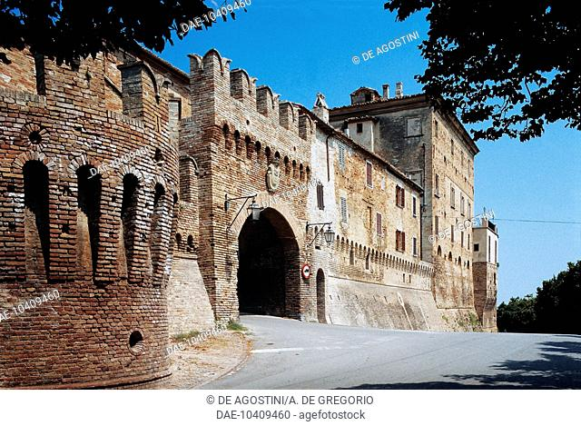 The walls of Corinaldo and Porta Nuova gate, Marche, Italy