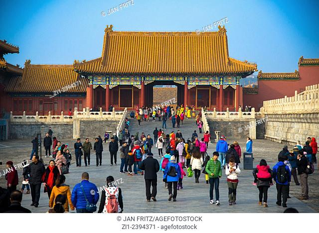 tourists at the Forbidden City in Beijing