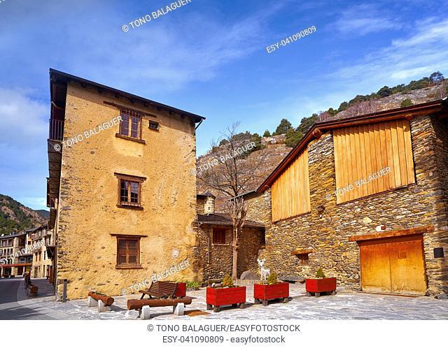 Ordino village in Andorra Pyrenees in ski area
