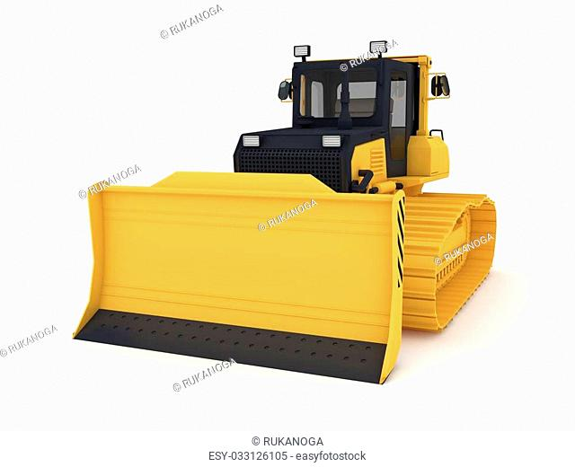 Bulldozer.Isolated on white background 3d rendered illustration