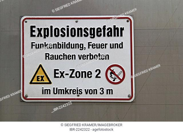 Warning sign, Explosionsgefahr, German for danger of explosion, at a biogas plant, Germany, Europe