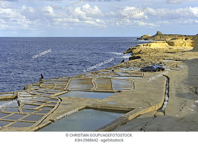 salt pans on the north coast of Gozo Island, Malta, Mediterranean Sea, Southern Europe
