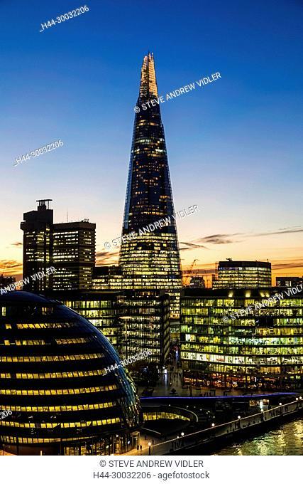 England, London, Southwark, London Bridge City, View from Tower Bridge of London Bridge City Skyline