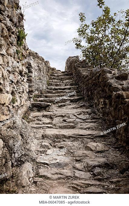 staircase to Rocca del Manerba, Manerba, Lake Garda, Italy, castle ruin, place of interest