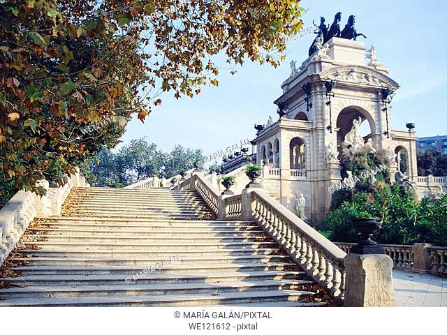 Staircase and fountain. La Ciudadela park, Barcelona, Catalonia, Spain