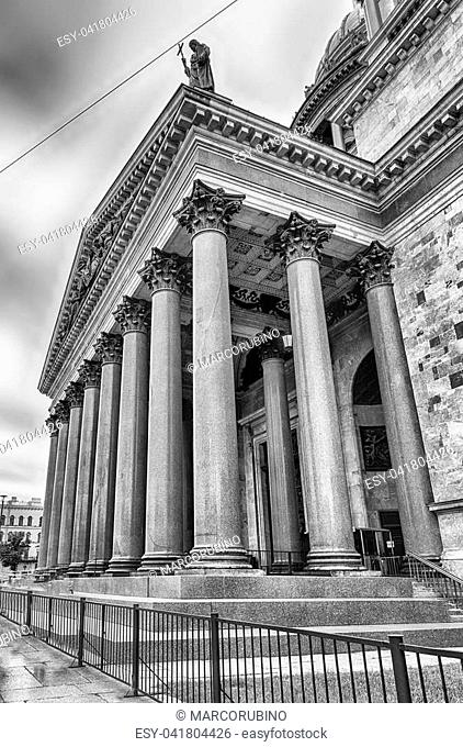 The scenic Saint Isaac's Cathedral, iconic landmark in St. Petersburg, Russia