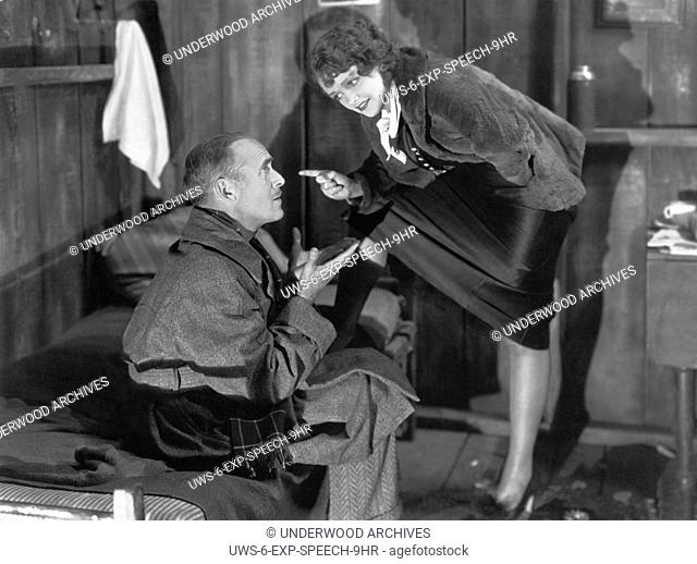 Hollywood, California: 1934 Actress Pert Kelton lays it down to James Gleason in the RKO film, The Meanest Gal In Town