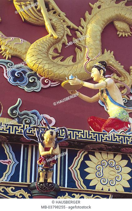 China, Hong Kong, New Territories,  Temple of 10 000 Buddhas, facade, Detail, figures, Asia, Eastern Asia, island state, island, city, metropolis, metropolis