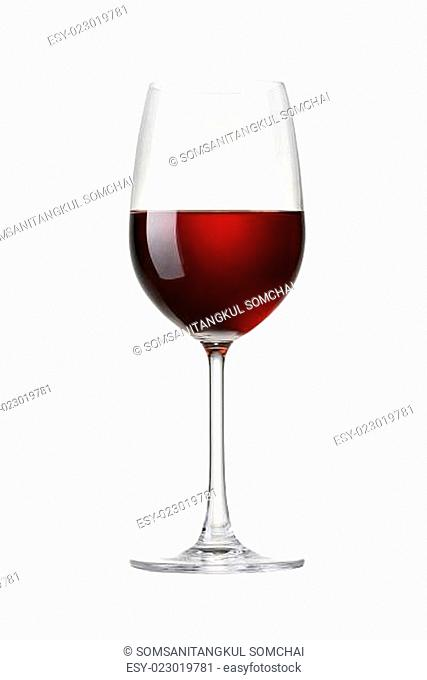 glass of Red wine isolated on white with clip path