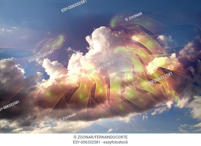 Background of clouds of fractal foam and abstract lights on the subject of art, spirituality, painting, music , visual effects and creative technologies