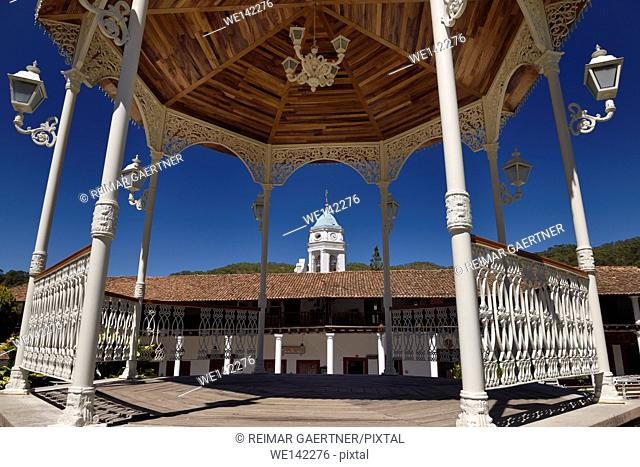 Bandstand in central square of San Sebastian del Oeste Jalisco Mexico with church bell tower