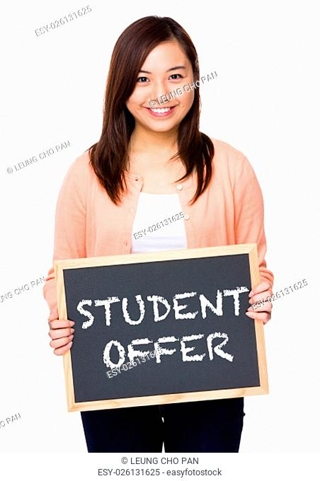 Asian woman with black board showing student offer
