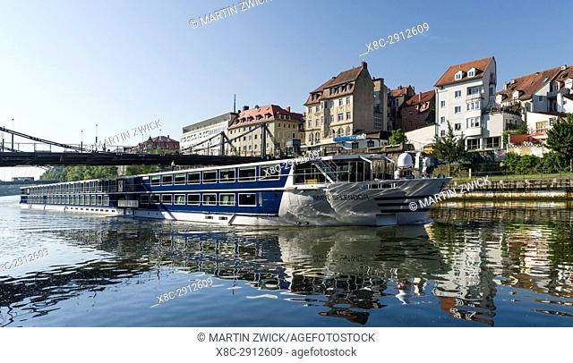 River cruise on the Main Donau Channel or the right arm of river Regnitz. Bamberg in Franconia, a part of Bavaria. The Old Town is listed as UNESCO World...