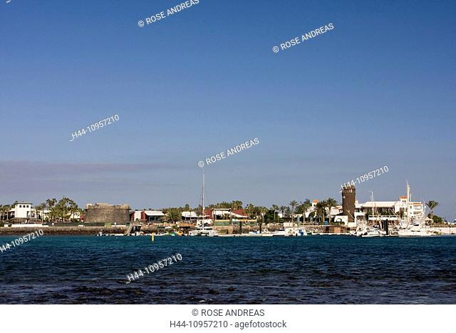 Yacht harbour, lighthouse, Caleta de Fustes, Fuerteventura, Canary islands, Spain, Europe, boats, harbour, port