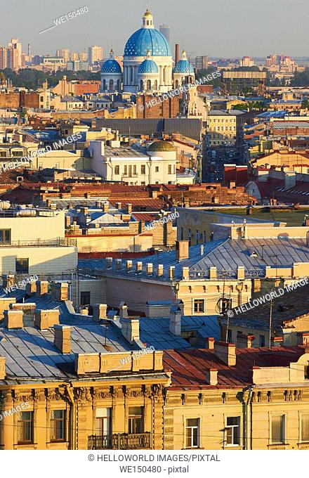 St Petersburg cityscape with blue domes of Trinity Cathedral, Russia