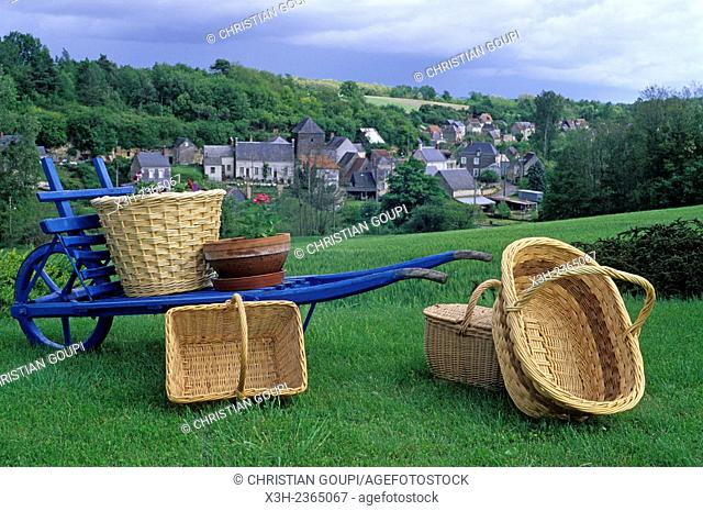 wicker basket display with the village of Villaines-les-Rochers in the background, Indre-et-Loire department, Centre region, France, Europe