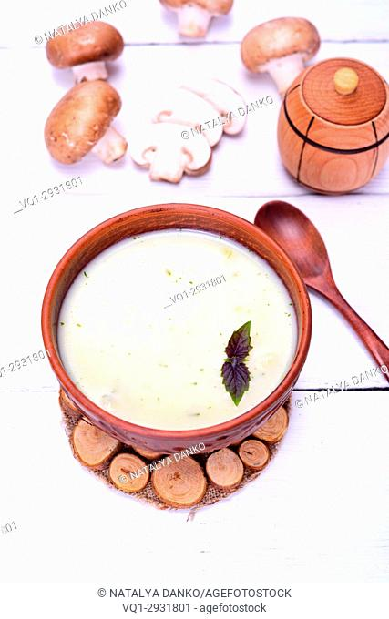 cream soup of fresh mushrooms in a round clay plate on a white wooden table, top view