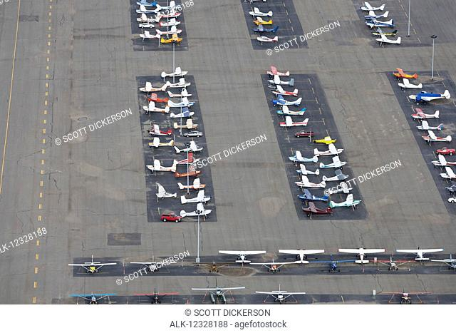 Aerial Overlooking Parked Small Planes At Merrill Field, Anchorage, Southcentral Alaska, USA