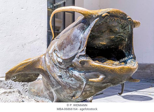 German Hunting and Fishing Museum in the former Augustinian Church, bronze sculpture of a fish, Munich, Bavaria, Germany, Europe