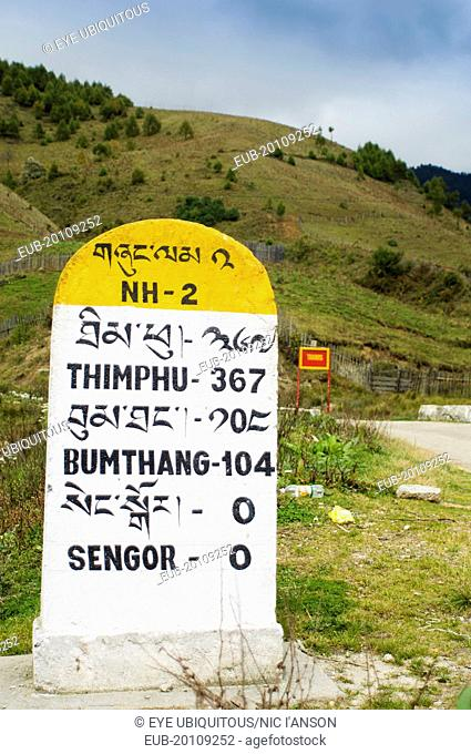 Milestones on the side of the main east-west highway showing distances to towns