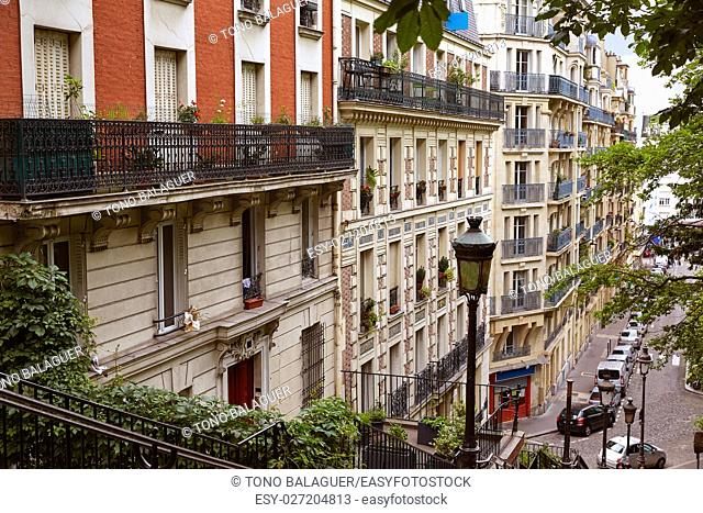 Paris Montmartre stairway stairs to reach Sacre Coeur