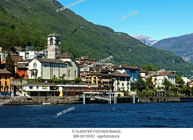 Lake view of Brissago with the Parish Church of Saints Peter and Paul on Lake Maggiore