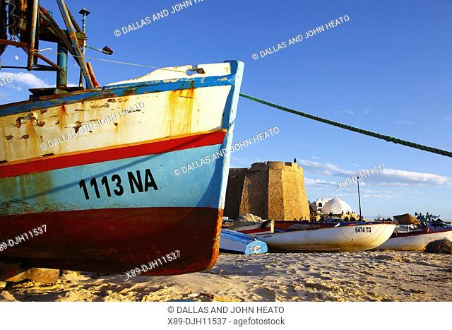 Africa, Tunisia, Mediterranean Sea, Hammamet, Beach and Fortress, Bow of Boat