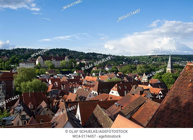 06. 06. 2017, Tuebingen, Baden-Wuerttemberg, Germany, Europe - An elevated city view of the roofscape of Tuebingen's old town