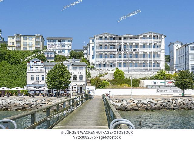 Pier with historic villas and hotel Fürstenhof, Sassnitz, Rügen, Mecklenburg-Vorpommern, Germany, Europe