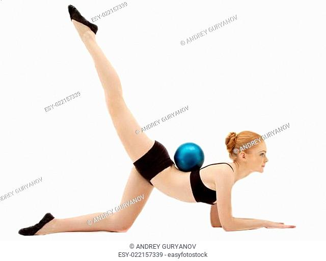 Woman exrcise gymnast performance with ball