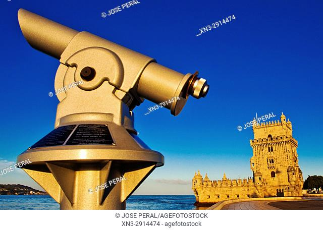 Tourist Telescope, Belem Tower, Tower of Saint Vincent, Fortification, Torre de Belém, Tagus River mouth, Rio Tejo, Santa Maria de Belém district, Lisbon
