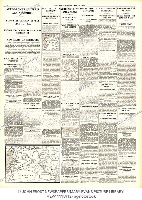 1941 page 4 The Times RAF bomb air bases in Syria, Vichy France deal with Germany, Italian surrender at Amba Alagi and Egyptian Liner Zamzam sunk by German...