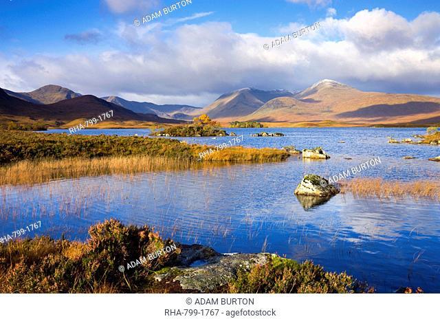 Lochan Nah Achlaise on Rannoch Moor in the Autumn, Highlands, Scotland, United Kingdom, Europe