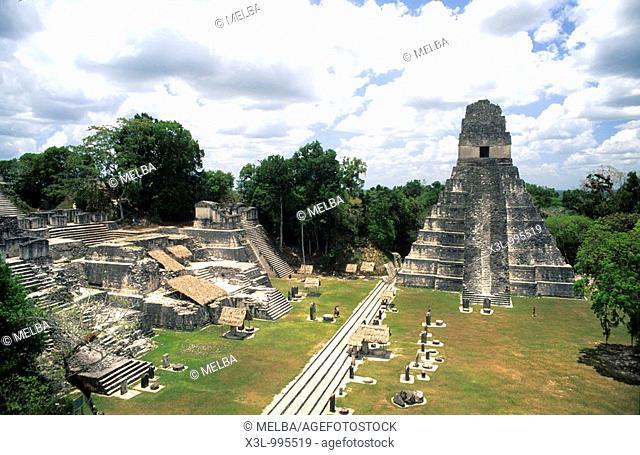 Temple I, Great Jaguar  Mayan ruins of Tikal national park  Peten region, Guatemala