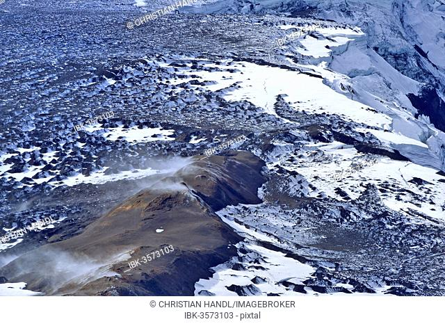 Aerial view of the volcanic region of Grimsvoetn in Vatnajoekull or Vatna Glacier, Southern Region, Iceland