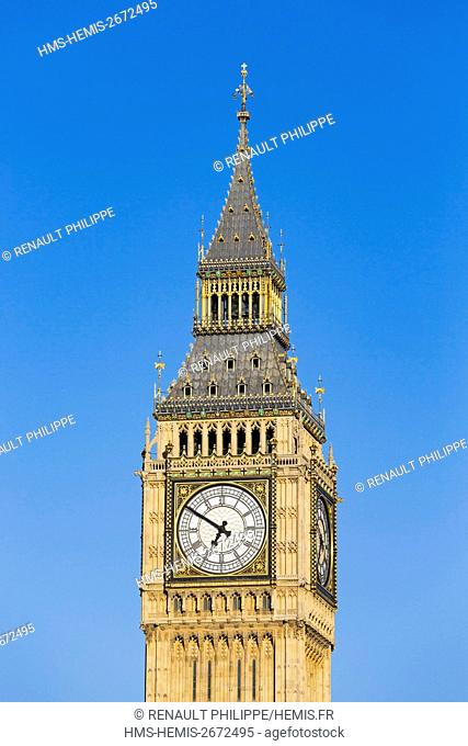 United Kingdom, London, Westminster district, the clock tower of the Palace of Westminster or Elizabeth Tower housing the famous Big Ben bell