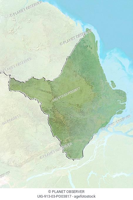 Relief map of the State of Amapa, Brazil. This image was compiled from data acquired by LANDSAT 5 & 7 satellites combined with elevation data