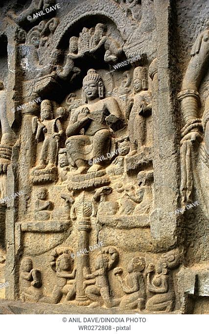 Sculptures of Buddha in Karla caves in 2nd century B.C. , Lonavala , Maharashtra , India