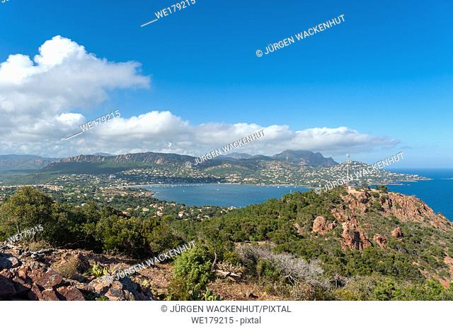 View from the Cap du Dramont toward the Massif de l'Esterel, Saint-Raphael, Var, Provence-Alpes-Cote d`Azur, France, Europe