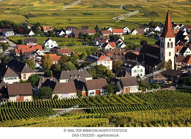 France, Haut-Rhin, Alsace Region, Alasatian Wine Route, Ammerschwihr, afternoon town view, autumn